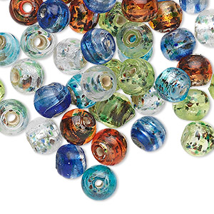 bead mix, glass, multicolored with silver-colored foil, 6mm round. sold per pkg of 50.