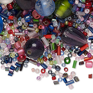 bead mix, glass, opaque to transparent mixed colors, 2x1mm-15x14mm mixed shapes. sold per (48) 6-inch strands, approximately 4,000-4,400 beads.