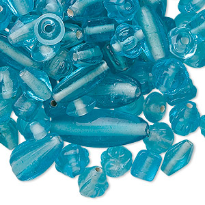 bead mix, glass, transparent light turquoise blue, 7x4mm-21x11mm mixed shapes. sold per 50-gram pkg, approximately 60-100 beads.