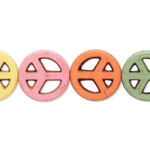 bead mix, howlite (imitation), multicolored, 14-15mm peace sign. sold per 15-inch strand.