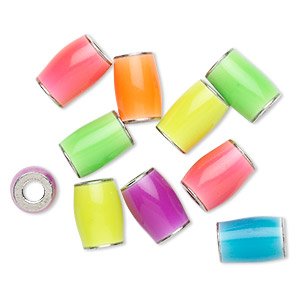 bead mix, imitation rhodium-plated brass, mixed glow-in-the-dark colors, 9x6mm-10x8mm round tube with 3mm hole. sold per pkg of 10.