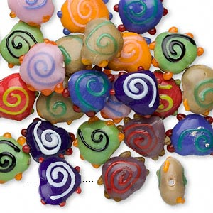 bead mix, lampworked glass, mixed colors, 18x15mm fancy heart. sold per 100-gram pkg, approximately 30-35 beads.