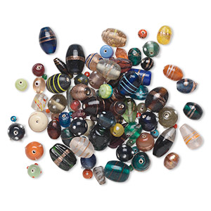 bead mix, lampworked glass, mixed colors, 6mm-27x21mm mixed shape with 2-4.1mm hole. sold per 250-gram pkg, approximately 45-90 beads.