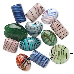 bead mix, lampworked glass, multicolored, 16x12mm-28x20mm multi-shape. sold per pkg of 12.