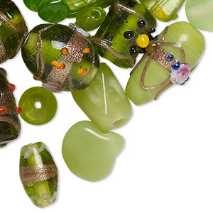 bead mix, lampworked glass, peridot green with fancy finish, 7x4mm-14x11mm mixed shapes. sold per pkg of 100-grams, approximately 60-100 beads.
