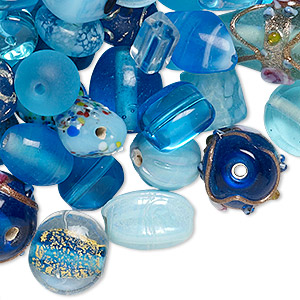 bead mix, lampworked glass, turquoise blue with fancy finish, 7x4mm-14x11mm mixed shapes. sold per pkg of 100-grams, approximately 60-100 beads.