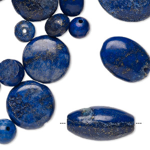 bead mix, lapis lazuli and denim lapis (dyed), 6x6mm-31x30mm mixed shape, c grade, mohs hardness 5 to 6. sold per 1/4 pound pkg, approximately 45 beads.