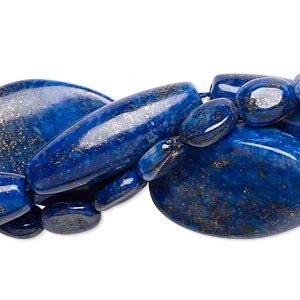 bead mix, lapis lazuli (dyed), 10x8mm-30x21mm multi-shape, mohs hardness 5 to 6. sold per pkg of (3) 15-inch strands.
