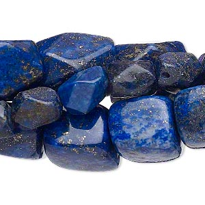 bead mix, lapis lazuli (dyed), small to medium nugget, mohs hardness 5 to 6. sold per pkg of (3) 15-inch strands.