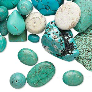 bead mix, magnesite (dyed / stabilized), blue / green / white, 8mm-51x51mm multi-shape, d grade, mohs hardness 3-1/2 to 4. sold per 1 pound pkg, approximately 70 beads.