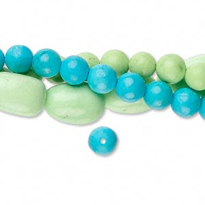 bead mix, magnesite (dyed / stabilized), blue and green, 4-6mm round and small to medium nugget, mohs hardness 5. sold per pkg of (3) 15-inch strands.