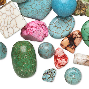 bead mix, magnesite (dyed / stabilized), mixed colors, 9x6mm-77x39mm mixed shape, d grade, mohs hardness 3-1/2 to 4. sold per 1-pound pkg, approximately 55-70 beads.