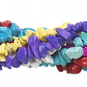 bead mix, magnesite (dyed / stabilized), mixed colors, small chip. sold per pkg of (7) 35-inch strands.