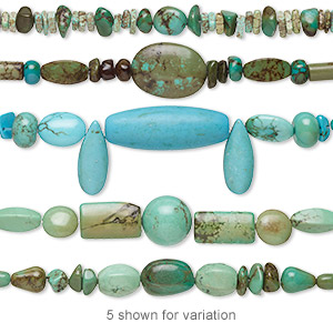 bead mix, magnesite (dyed / stabilized), multicolored, 4mm-40x15mm mixed shape, mohs hardness 3-1/2 to 4. sold per 4-inch strand.