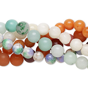 bead mix, malaysia jade (dyed), mixed colors, 6-16mm round, c grade, mohs hardness 7. sold per pkg of (5) 15-inch strands.