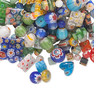 bead mix, millefiori glass, mixed colors, 4x4mm-20x20mm mixed shape. sold per 1/4 pound pkg, approximately 110-170 beads.