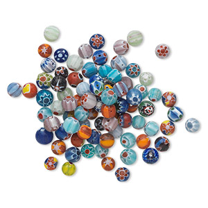 bead mix, millefiori glass, multicolored, 5-7mm round with mixed design. sold per 30-gram pkg, approximately 80-100 beads.