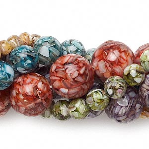 bead mix, mother-of-pearl shell and resin (assembled), mixed colors, 8-24mm round. sold per pkg of (5) 15-inch strands.