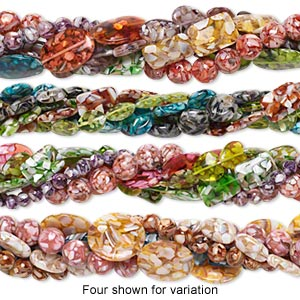 bead mix, mother-of-pearl shell and resin (assembled), mixed colors, 8x8mm-30x30mm mixed shapes. sold per pkg of five 15-inch strands.
