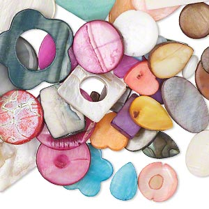bead mix, mother-of-pearl shell (natural / bleached / dyed), mixed colors, 11x11mm-35x35mm multi-shape. sold per pkg of 1/4 pound, approximately 60 beads.