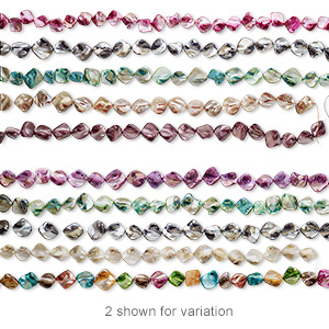 bead mix, mother-of-pearl shell (natural / bleached / dyed), mixed colors, medium to large diagonally drilled nugget, mohs hardness 3-1/2. sold per pkg of (5) 14- to 16-inch strands.