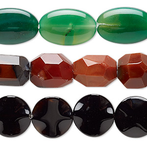 bead mix, multi-agate (dyed / heated), mixed colors, 24x11mm-51x25mm mixed shape, mohs hardness 6-1/2 to 7. sold per pkg of (3) 15-inch strands.
