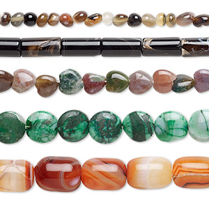 bead mix, multi-agate (dyed / heated), mixed colors, 6x4mm-20x15mm mixed shape, mohs hardness 6-1/2 to 7. sold per pkg of (5) 15-inch strands.