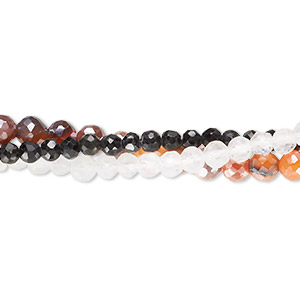 bead mix, multi-gemstone (natural / dyed / coated / heated / irradiated), 3-6mm hand-cut faceted round, mohs hardness 3 to 7. sold per pkg of (3) 14-inch strands.