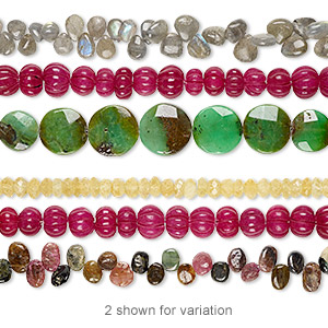bead mix, multi-gemstone (natural / dyed / heated / irradiated / coated), mixed colors, 6x4mm-19mm hand-cut top- and center-drilled mixed shape, c grade, mohs hardness 3 to 7. sold per pkg of (3) 6-inch strands.