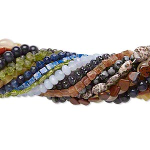 bead mix, multi-gemstone (natural / dyed / heated / manmade / imitation), multicolored, 3x3mm-30x15mm hand-cut multi-shape. sold per pkg of (25) 8-16 inch strands.