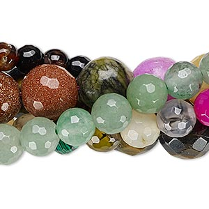 bead mix, multi-gemstone (natural / dyed / heated / manmade) and glass, mixed colors, 4-14mm faceted round, mohs hardness 3 to 7. sold per pkg of (5) 15-inch strands.