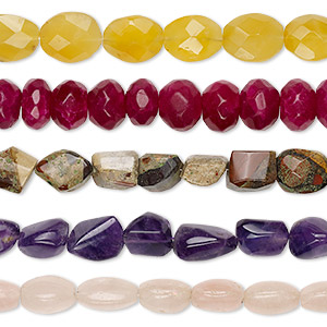 bead mix, multi-gemstone (natural / dyed / heated), mixed colors, 13x8mm-19x16mm hand-cut mixed shape, c grade, mohs hardness 3 to 7. sold per pkg of (5) 8-inch strands.