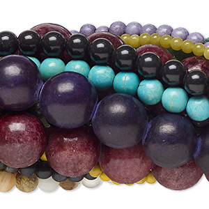 bead mix, multi-gemstone (natural / dyed / man-made / imitation) and glass, mixed colors, 4-14mm round, c grade. sold per pkg of (25) 15-inch strands.