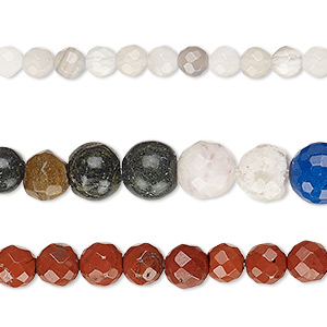 bead mix, multi-gemstone (natural / dyed / stabilized / heated / manmade / imitation) and glass, mixed colors, 4-9mm faceted round, mohs hardness 3 to 7. sold per pkg of (3) 15-inch strands.