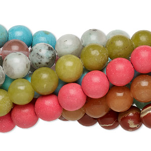 bead mix, multi-gemstone (natural / dyed / stabilized / imitation) and glass, multicolored, 7-8mm round, mohs hardness 3 to 7. sold per pkg of (10) 7-inch strands.