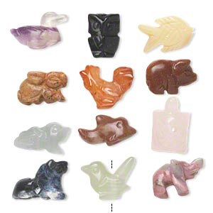 bead mix, multi-gemstone (natural / heated / manmade), mixed size carved animal shapes, b grade. sold per pkg of 12.