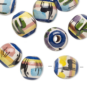 bead mix, painted ceramic, multicolored, 12mm round with plant and animal design, 3mm hole. sold per pkg of 10.