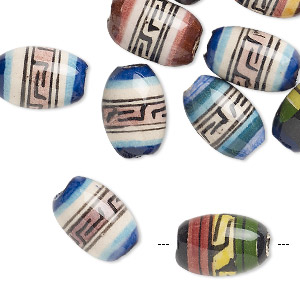 bead mix, painted ceramic, multicolored, 13x10mm-14x10mm oval with geometric design, 2.5mm hole. sold per pkg of 10.