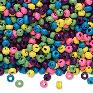 bead mix, painted wood, mixed colors, 3x2mm rondelle. sold per 90-gram pkg, approximately 9,000 beads.