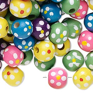 bead mix, painted wood, mixed colors, 9-10mm irregular round with flower design. sold per 90-gram pkg, approximately 300 beads.