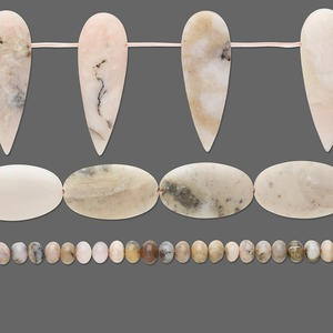 bead mix, pink opal (natural), 6-65mm mixed shape, d grade, mohs hardness 5 to 6-1/2. sold per pkg of (3) 14-inch strands.