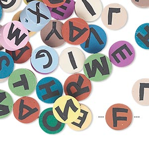 bead mix, polymer clay, multicolored, 8mm double-sided flat round with alphabet letters. sold per pkg of 50.