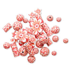 bead mix, polymer clay, orange and white, 5mm-22x21mm mixed shape with flower design. sold per pkg of 36.