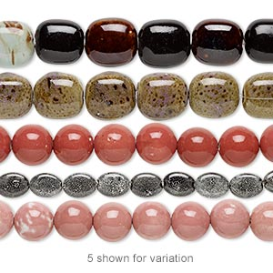 bead mix, porcelain, multicolored, 16x10mm-42x35mm multi-shape. sold per pkg of (5) 8-inch strands.