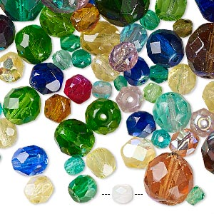bead mix, preciosa czech fire-polished glass, mixed colors, 3-12mm round. sold per 1/4 pound pkg, approximately 170 beads.