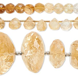 bead mix, quartz crystal and citrine (natural / dyed / heated), 5mm-23x19mm hand-cut mixed shape, mohs hardness 7. sold per pkg of (3) 8-inch strands.