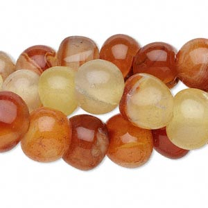 bead mix, red agate (dyed / heated), mini to small nugget, mohs hardness 6-1/2 to 7. sold per pkg of (3) 16-inch strands.