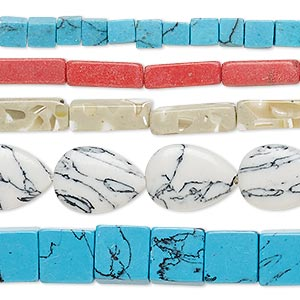 bead mix, resin / mother-of-pearl shell / black lip shell / turquoise / howlite / coral (imitation / assembled), mixed colors, 4mm-32x32mm mixed shape. sold per pkg of (5) 15-inch strands.