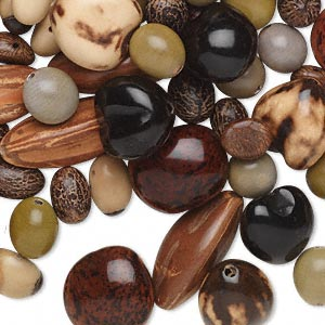 bead mix, seed and nut (natural / dyed), mixed colors, 11x7mm-44x21mm mixed shape. sold per 1/4 kilogram pkg, approximately 120 beads.