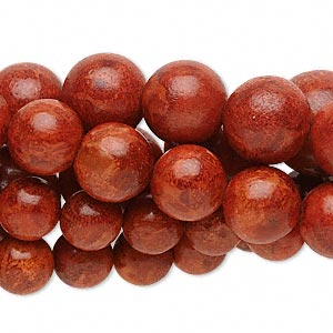 bead mix, sponge coral (dyed), red, 8-14mm round, mohs hardness 3-1/2 to 4. sold per pkg of (5) 16-inch strands.